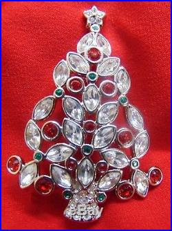 VINTAGE SWAROVSKI YEAR 2002 MARKED withSWAN CHRISTMAS TREE MULTICOLOR PIN