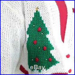 VINTAGE Womens Hand Knit Cardigan Sweater Goose Trees Ugly Christmas Sz 18 XL