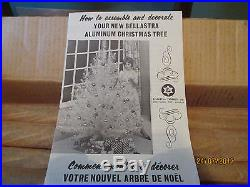 VINTAGE aluminum silver Christmas tree 4' BY BELLASTRA 46 BRANCHES ORIGINAL BOX