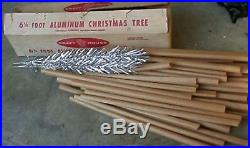 VINTAGE shinny 1950's silver aluminum christmas tree withbox stand tripod