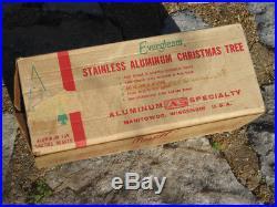 VIntage Mid Century EVERGLEAM Stainless Aluminum Christmas Tree 4' Original Box