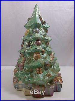 VTG 14-1/2 Tall 11 Wide Base Ceramichrome 1500 Painted Ceramic Christmas Tree