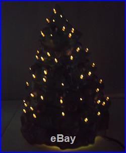 VTG 14.5 Tall 11 Wide Base Ceramichrome 1500 Painted Ceramic Christmas Tree