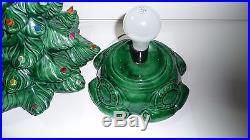 VTG 17 Atlantic Mold 2 Pcs Green Ceramic Christmas Xmas Tree With Colored Bulbs