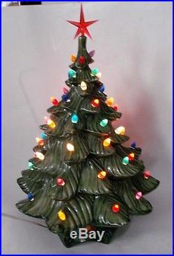 VTG 19 Ceramic Christmas Tree Light 2-pc Atlantic Mold Chartreuse Green WORKS