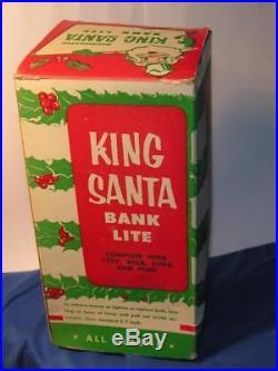VTG 1950'S HARD PLASTIC XMAS SANTA KING BANK LIGHT iob HARETT GILMAR W TREE