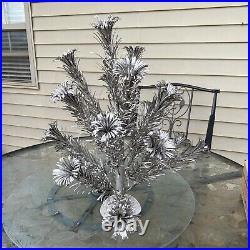 VTG 2 FT SILVER STAINLESS EVERGLEAM POM POM ALUMINUM CHRISTMAS XMAS TREE With BOX
