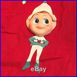 VTG 34 Christmas Tree Skirt Japan Plastic Elves Elf Pixie Felt Xmas 1950s 60s