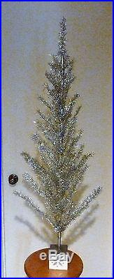 VTG 4 Foot silver Stainless aluminum Christmas tree, signed US ZONE GERMANY