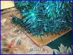 VTG 50's EMERALD GREEN BLUE 7 FT Stainless Aluminum Holiday Christmas Tree BOX