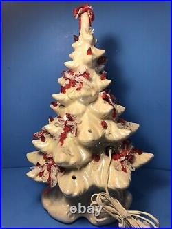 VTG Atlantic Mold White 17 Ceramic Christmas Tree with Lights Bows Music RARE HTF