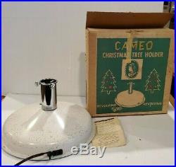 VTG Cameo Revolving Aluminum Christmas Tree Holder Stand music Jingle bells