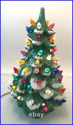 VTG Ceramic Holland Mold Flocked Lighted Christmas Tree 12 with Base