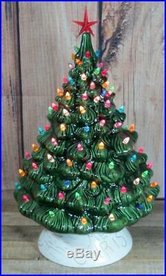 VTG Ceramic Tabletop Electric Multicolor Flame Bulb Christmas Tree 16 MCM Decor