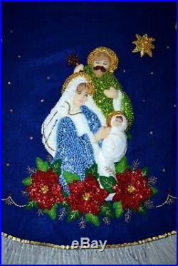 VTG Completed Bucilla Felt Nativity Christmas Tree Skirt Hand Sewn Embroidered