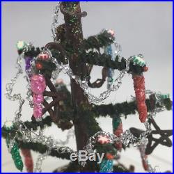 VTG Dollhouse Christmas Tree Miniature Feather Look Wood Fence Artisan Decorated