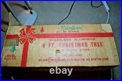 VTG Evergleam Aluminum 6' Christmas Tree 94 Branch Fountain Style withColor Wheel