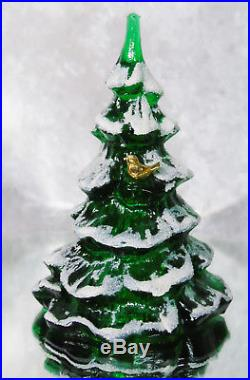 VTG Fenton Green Glass Snow Frosted CHRISTMAS TREE 6.5 Gold Cardinal Bird Tags