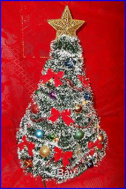 Vtg. Handmade Garland Christmas Tree 19h. One Of A Kind Lighted/decorations Euc