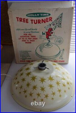 VTG Holly Time Tree Turner Gold Stars Revolving Aluminum Tree Stand Christmas