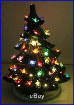 VTG Light up Ceramic Christmas Tree Base Green Bird Bulbs 16 Tall Atlantic Mold