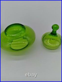VTG MCM Italian Emploi Green Blown Glass Christmas Tree Candy Dish Apothecary