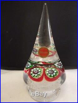 VTG Murano Italy Christmas Tree Shaped Millefiori Canes Decorated Paperweight