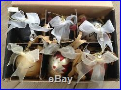 VTG NEW Past Times CAT Glass LARGE CHRISTMAS TREE BAUBLES X 6 Boxed RARE RETRO