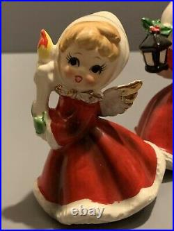 VTG Napco Christmas Angel With Gift X6984 Holding CANDLE LANTERN TREE PRESENT