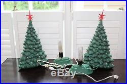 VTG Pair 18.5 Large Ceramic Lighted Christmas Trees Thin Tree Peg Light Tall