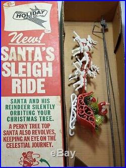 VTG Rare 1940s 1950s Holiday Christmas Tree Topper Rotating Santa and Reindeer