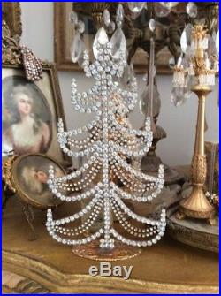 VTG STYLE Czech CHRISTMAS Tree FREE STANDING Rhinestone swags JEWELED frame