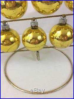 VTG Shiny Brite Christmas Tree Centerpiece With Gold Balls In Original Box USA