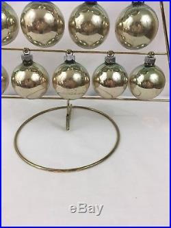 VTG Shiny Brite Christmas Tree Centerpiece With Green Balls & Original Box USA