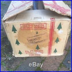 VTG Silver POM POM Aluminum Christmas Tree in BOX, 6 1/2 feet Deluxe, 100 Branches