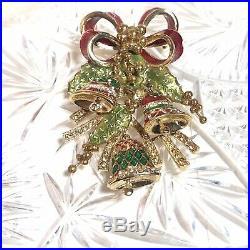 VTG St. John Christmas Tree Bells Brooch Pin Massive Statement Rhinestone Enamel
