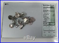 VTG Sterling 925 Silver Charm BRACELET &16 CHARMS 56 grams-Christmas Tree Horse