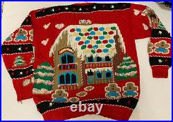 VTG Traditional Trading Co Sweater Christmas Gingerbread house Tree Holiday XL