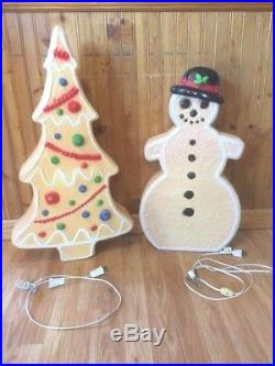VTG Union Don Featherstone Gingerbread Tree Snowman Pair Blowmold Christmas Yard