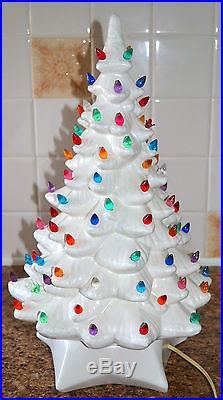 Vtg White Ceramic Lighted 20 Christmas Tree Snow Tipped Branches, Birds & Bulbs