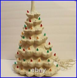 VTG White Ceramic Lighted Christmas Tree 16