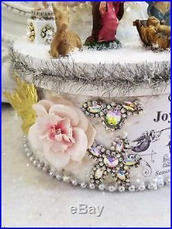 VTG nativity CHRISTMAS box bottle brush tree figurine rhinestone ornaments JESUS