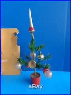Vintage 10 Feather Christmas Tree With Ornaments In Original Box