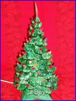 Vintage 12 Handpainted Lighted Ceramic Christmas Tree with Star Base Multi Colors