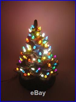 Vintage 13 Ceramic Lighted Snow Tip Christmas Tree LOTS OF LIGHTS WORKS