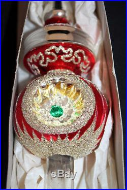 Vintage 13 Glass Christmas Red Gold Indented Tree Topper Ornament West Germany