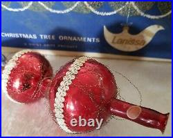Vintage 13 SHINY BRITE GLASS TREE TOPPER WIRE MESH & TASSEL IN BOX GORGEOUS