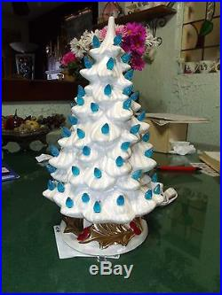Vintage 13 Tall MOP Christmas Tree with Tree Ring and Fancy Base