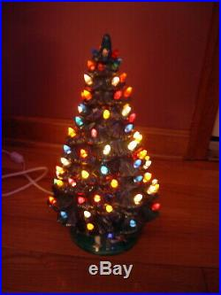 Vintage 14.5 Green Ceramic Lighted Christmas Tree WORKS