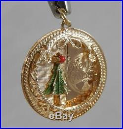 Vintage 14 Karat Gold Enameled Merry Christmas Tree Pendant Charm 14K J1635